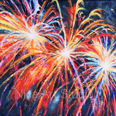 Fireworks, 2017, 50 x 50 cm, print on canvas and painted with oil color