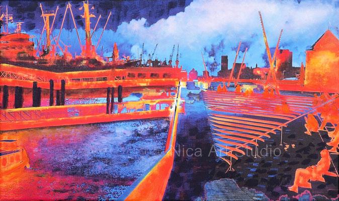 Hafenblick, 2021, 50 x 30 cm, Leinwanddruck mit Acryl- und Ölmalerei