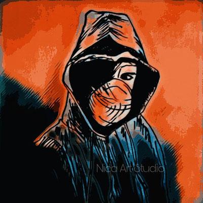 Mask, 2020, sketch with digital edit