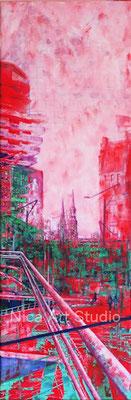 bunte Hafencity Terrassen, 2019, 30 x 90 cm, Leinwanddruck mit Acrylmalerei