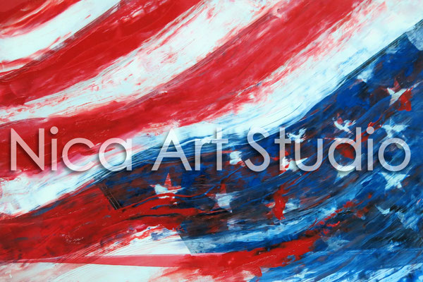 US Flagge, 2014, 30 x 20 cm, Fotografie mit Ölfarbe
