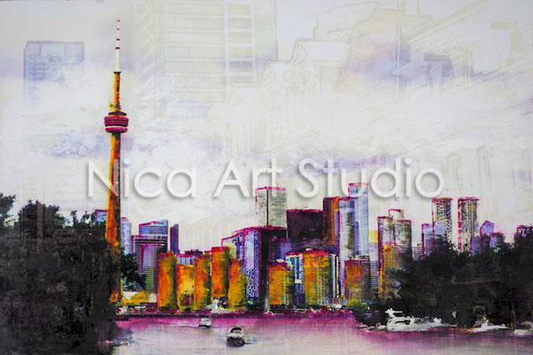 Toronto, 2017, 30 x 20 cm, Fotografie mit Ölfarbe