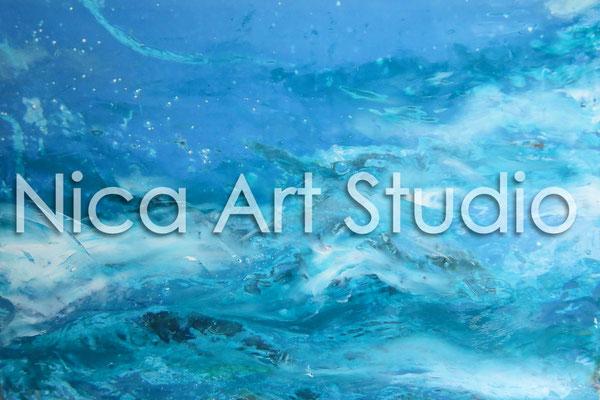 Wasser 1, 2014, 30 x 20 cm, Fotografie mit Ölfarbe