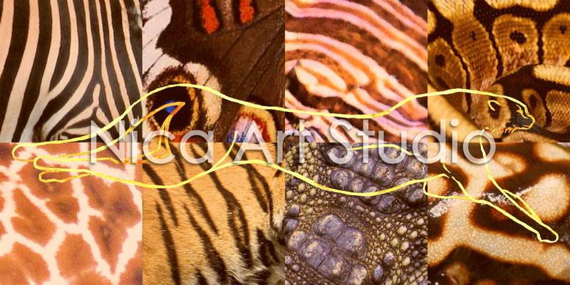 Tarnung, 2013, 80 x 40 cm, Aquarellzeichnung & Fotos digital kombiniert, auf Alu Dibond