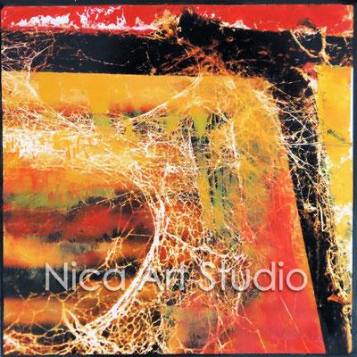 Stalltür, 2015, 20 x 20 cm, Fotografie mit Ölfarbe