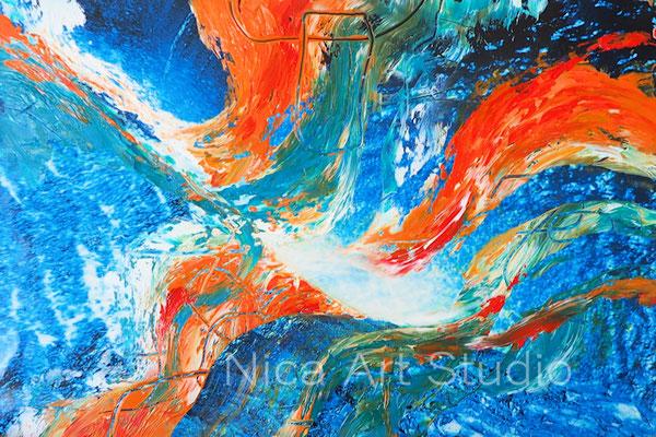 Wasser Abstraktion, 2017, 30 x 20 cm, Fotografie mit Ölfarbe