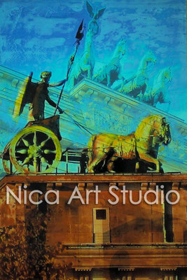 B14, Quadriga, 2015, 20 x 30 cm, photograph with oil paint