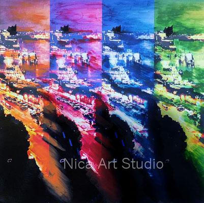 Hafen vierfarbig, 2018, 30 x 30 cm, Fotografie mit Acrylfarbe