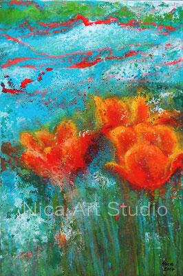 Tulpen, 2017, 20 x 30 cm, Fluidpainting mit Fototransfer und Acrylmalerei auf MDF Platte