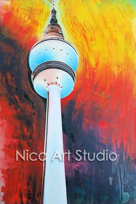 Fernsehturm bunt, 2015, 20 x 30 cm, Fotografie mit Ölfarbe