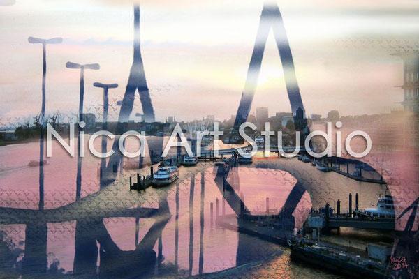 Köhlbrandbrücke, 2014, 60 x 40 cm, Print auf Alu Dibond seidenmatt (von Fotografie + Acrylmalerei + digitaler Zeichnung)