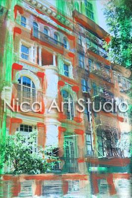 Soho Haus, 2014, 20 x 30 cm, Fotografie mit Ölfarbe