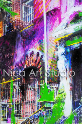 Greenwich Village, 2017, 20 x 30 cm, Fotografie mit Ölfarbe