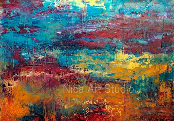 Abwägung, 2019, 30 x 21, Acrylfarbe mit Spray, Ölfarbe