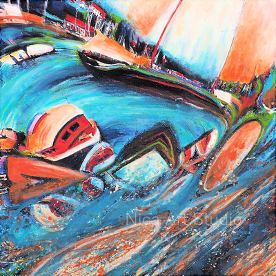 Segelboot im Fluss, 2020, 50 x 50 cm, Leinwanddruck mit Acrylmalerei, UV- Schutz