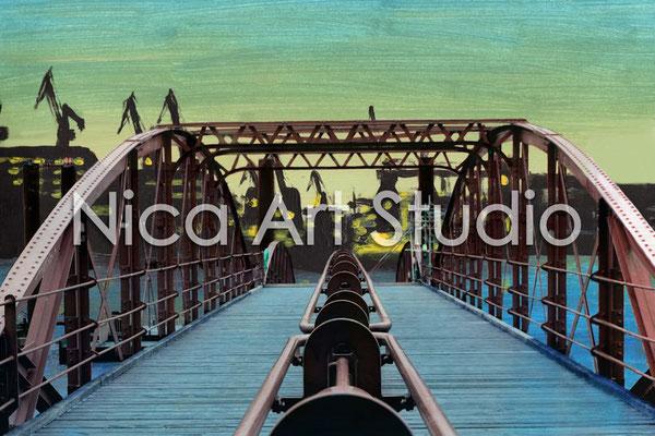 Hafen-Brücke, 2014, 3 : 2 Format, Print (von Fotobearbeitung + Hintergrund Acrylbild)