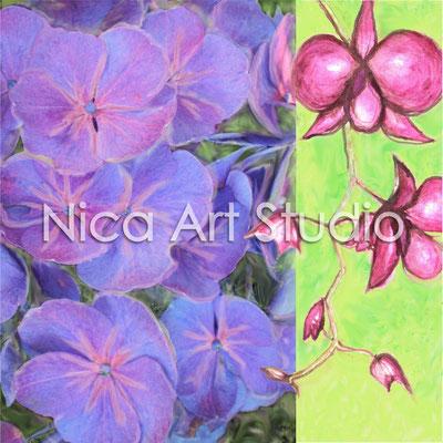 Orchidee & Hortensie, 2013, 50 x 50 cm, Print hinter Acryl-Glas (von Fotografie + Aquarell)