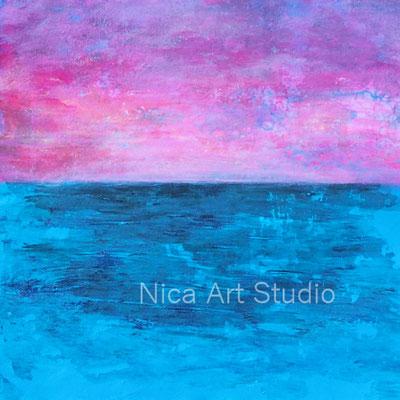 Himmel und Meer, 2019, 21 x 21 cm, Fluid Painting auf Papier mit Transfer und Acrylfarbe