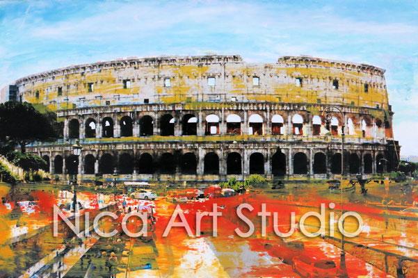 Kolosseum, 2015, 30 x 20 cm, Fotografie mit Ölfarbe