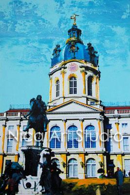 B44, Charlottenburger Schloss mit Reiter, 2017, 20 x 30 cm, Fotografie mit Ölfarbe