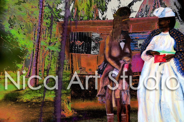Afrikanische Hütte, 2014, 40 x 30 cm, Acrylmalerei & Foto digital kombiniert, auf Photoseidenpapier
