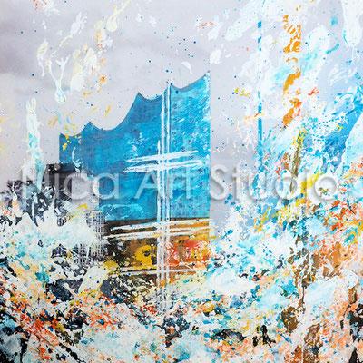 Elbphilharmonie & Boot, 2017, 30 x 30 cm, Fotografie mit Acryl- und Ölfarbe