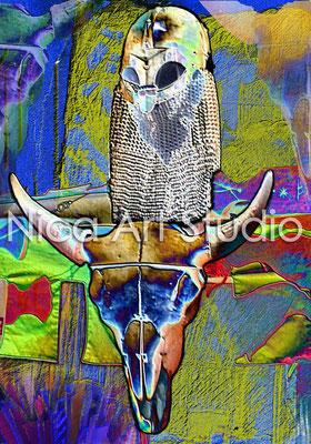 Büffelkopf, 2014, 70 x 100 cm, Kunstposter (von digitaler Kunst), weiß gerahmt