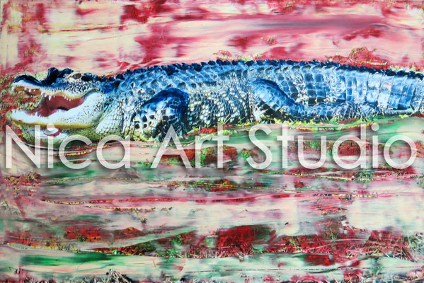 Alligator, 2014, 30 x 20 cm, photograph with oil paint