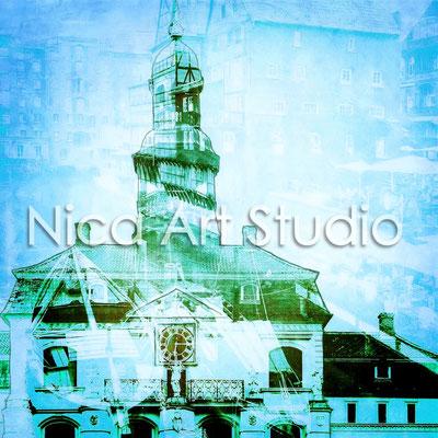 Lüneburger Rathaus blau, 2016, 20 x 20 cm, Druck auf Fotopapier