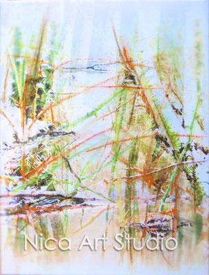 Winter forrest, 2015, 30 x 40 cm, print, chalk on canvas