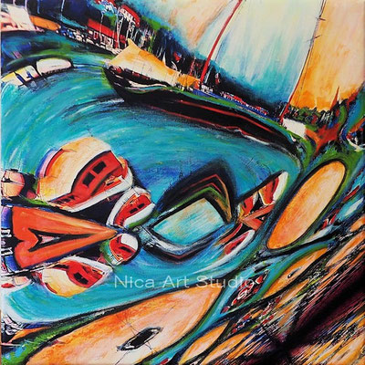 Distorted sailing boat, 2020, 50 x 50 cm, canvas print with acrylic painting