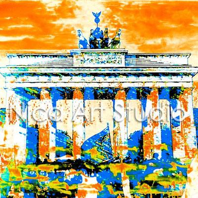 B1.1, Brandenburger Tor yellow/blue, 2015, 20 x 20 cm, print on photobase paper