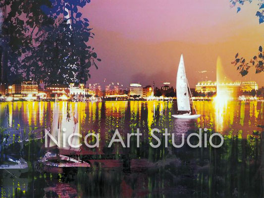 Alster in the evening, 2016,  30 x 20 cm, photography with oil color