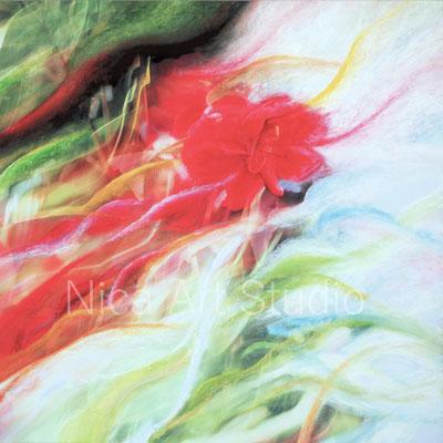 Kamelie, 2017, 80 x 80 cm, Alu Dibond Druck mit Ölfarbe