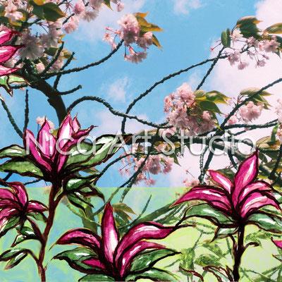 Magnolie & Kirsche, 2013, 50 x 50 cm, Print hinter Acryl-Glas (von Fotografie + Aquarell)