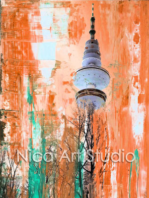 Fersehturm orange-grün, 2014, 30 x 40 cm, Print auf Fotopapier