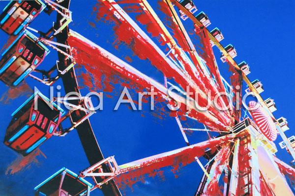 Riesenrad, 2015, 30 x 20 cm, Fotografie mit Ölfarbe