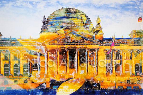 B32, Reichstag mit Blume,  2017, 30 x 20 cm, Fotografie mit Ölfarbe