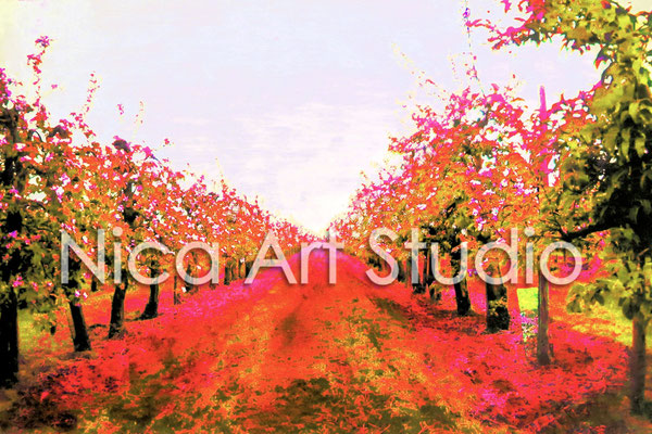 Fruit trees in multicored, 2015, 3 : 2 format, print