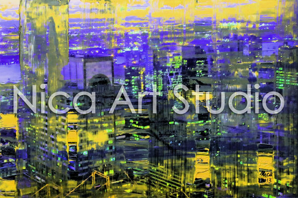 Skyscrapers NYC at night in purple-yellow, 2013, 3:2 format, print