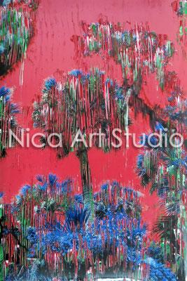 Palmen rot, 2014, 20 x 30 cm, Fotografie mit Ölfarbe