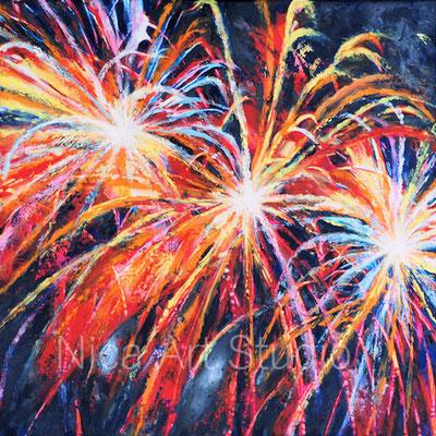 Feuerwerk, 2017, 50 x 50 cm, Leinwanddruck mit Ölfarbe