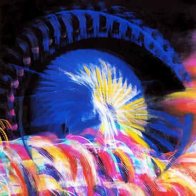 Riesenrad, 2021, 30 x 30 cm, Ölmalerei auf Fotografie