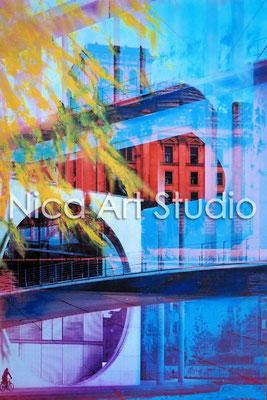 B20, Paul-Löbe-Haus, 2016, 20 x 30 cm, Fotografie mit Ölfarbe