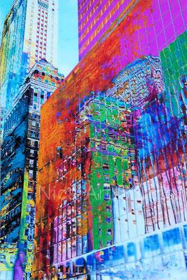 Fassaden in New York City, 2020, 20 x 30 cm, Fotografie mit Ölfarbe