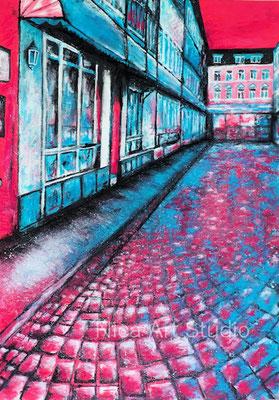 Gasse am Abend, 2021, 42 x 59,3 cm, Acrylmalerei auf Papier mit Pastellkreide