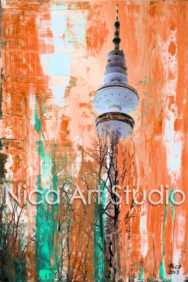 Television tower orange-green, 2014, 30 x 40 cm print on photobase paper