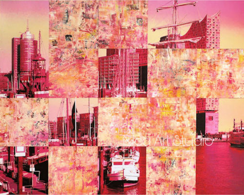 Pink harbour collage bigger, 2020, 50 x 40 cm, Photowork and oilcolor painting on wood