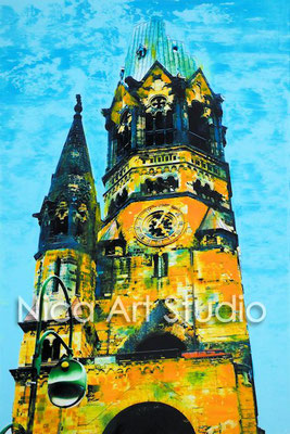 B46 Memorialchurch tower, 2017, 20 x 30 cm, photography with oil color
