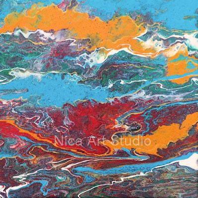 Himmel-Erde Abstraktion, 2018, 30 x 30 cm, Fluid Painting auf Leinwand